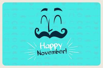 Movember feliz com um fundo azul