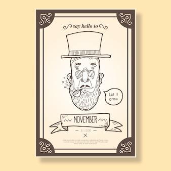 Movember folheto no estilo do vintage