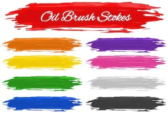 Muitas cores de pinceladas de óleo