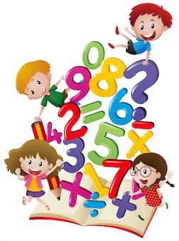 Muitas crianças com números no livro