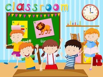 Muitas crianças estudam na ilustração da sala de aula