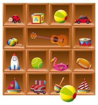 Muitos brinquedos em prateleiras de madeira