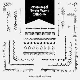 Muitos elementos decorativos diversos, quadros de borda