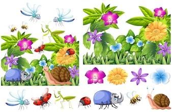 Muitos insetos no jardim de flores
