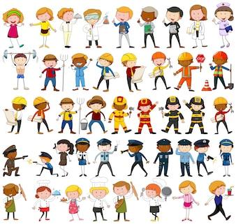 Muitos personagens com diferentes ocupações ilustração