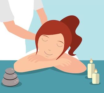 Mulher bonita que oferece tratamento de massagem administrado pelo terapeuta, conceito de Spa
