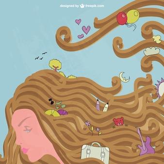 Mulher cabelos longos com objetos