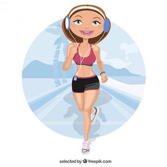 Mulher caráter de jogging