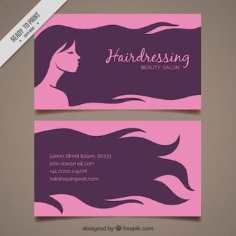 Mulher com cabelo longo cartão de cabeleireiro