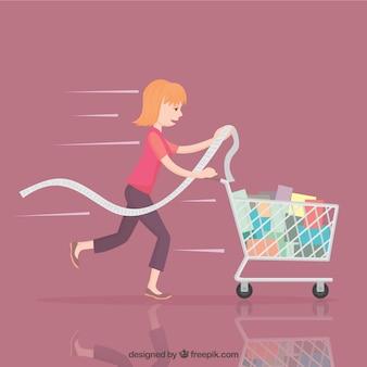 Mulher com carrinho de compras