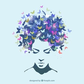 Mulher com o cabelo feito de borboletas
