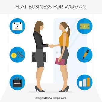 Mulher de negócios apertando as mãos