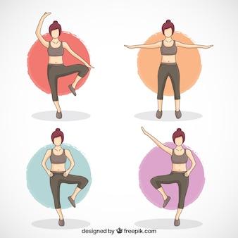 Mulher que faz quatro exercícios diferentes