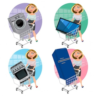 Mulheres com aparelhos no carro de compras