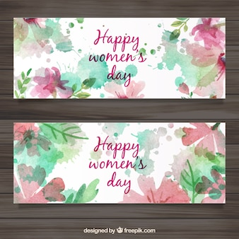 Mulheres Day Banners Watercolor