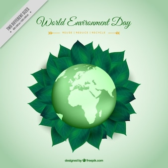 Mundial com folhas verdes fundo