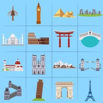 Mundial marcos ícones lisos conjunto decorativo