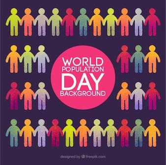 mundo colorido do fundo do dia da população