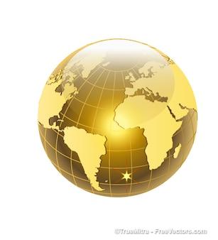 Mundo dourado com o Oceano Atlântico vista