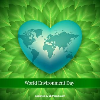 Mundo, meio ambiente, dia, fundo, coração, folhas
