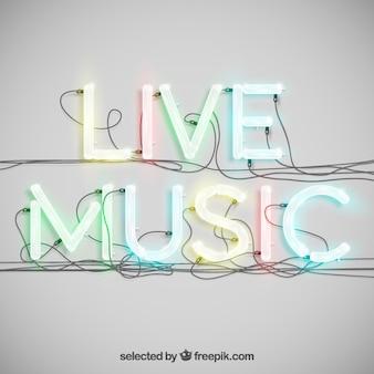 Música ao vivo em neon tipografia