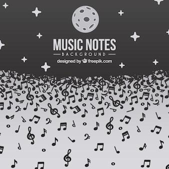 Música, notas, fundo, noite, desenho
