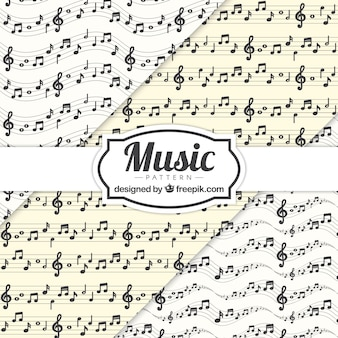 Música, notas, stave, Padrão, fundo