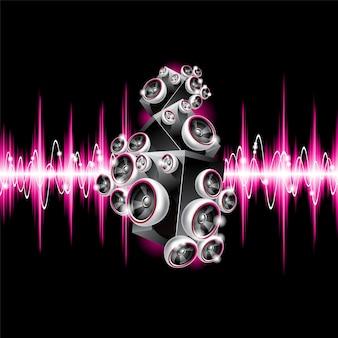 Musical fundo com ondas de som rosa
