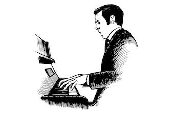Músico executa música para o piano - ilustração vetorial desenhada por linhas