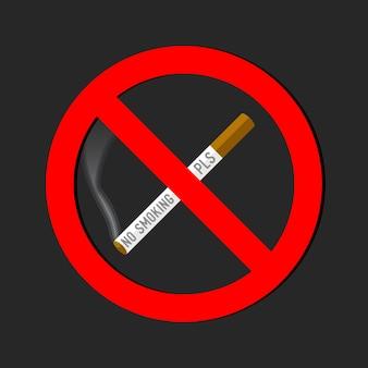 Não fumar sinal no fundo branco