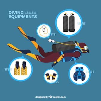natação do mergulhador de mergulhador com acessórios