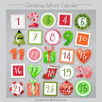 Natal calendário aquarela advento