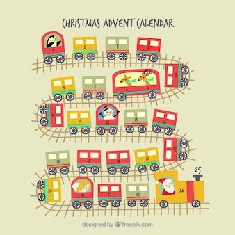 Natal calendário do advento de trem