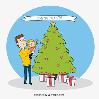 Natal cena bonita de um pai com sua filha que decora a árvore