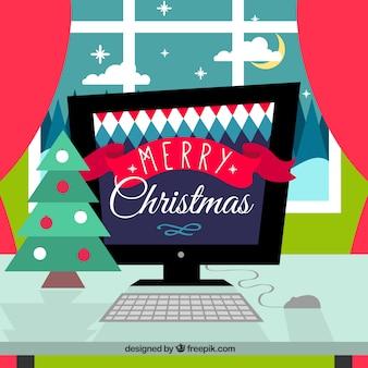 Natal dos desenhos animados computador
