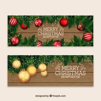 Natal e novos banners anos com baubles