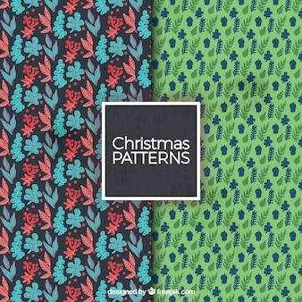 Natal padrões florais decorativas