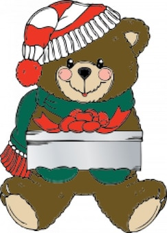 Natal urso wih presente