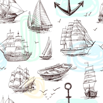 Navegando navios de altura fragatas brigantine clipper yachts e barco esboço sem emenda padrão ilustração vetorial