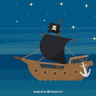 Navio pirata navegando no fundo da noite