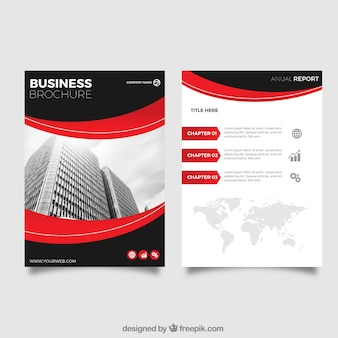Negócio, leaflet, vermelho, detalhes