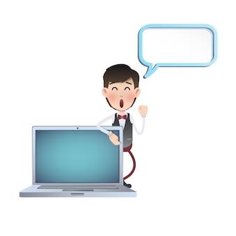 Negócio, personagem, laptop, fundo