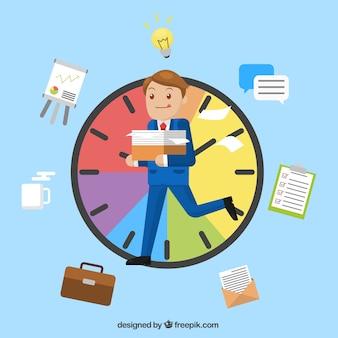 Negócio, personagem, ocupado, relógio