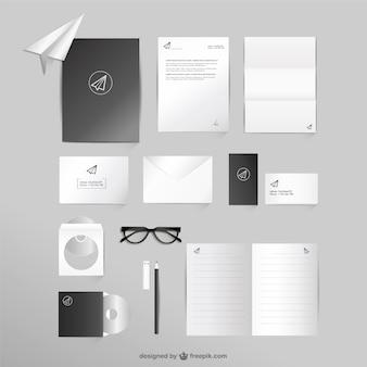 Negócios e escritório mock-up conjunto de vetores