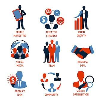 Negócios pessoas reunião gestão ícones conjunto de marketing móvel estratégia eficaz crescimento rápido ilustração vetorial isolado