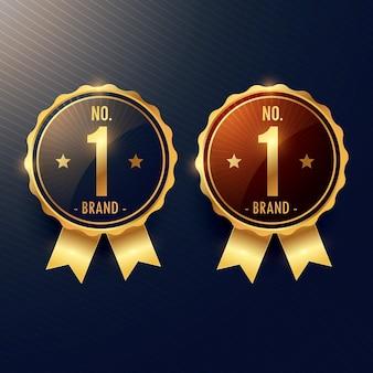 Nenhuma etiqueta e emblema dourados de uma marca em duas cores
