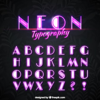 Neon alfabeto de luzes cor de rosa