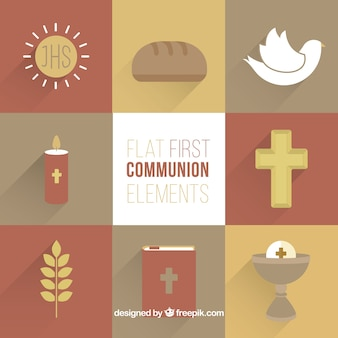 Nice elementos religiosos em design plano