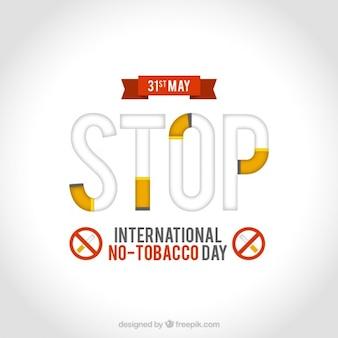 """No dia do tabaco com o """"stop"""" fundo palavra"""