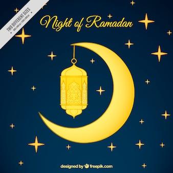 Noite de fundo Ramadã com uma lua dourada e lanterna
